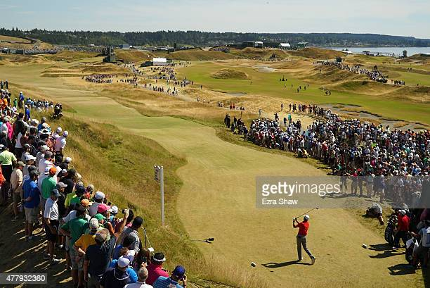 Jordan Spieth of the United States watches his tee shot on the sixth hole during the third round of the 115th US Open Championship at Chambers Bay on...