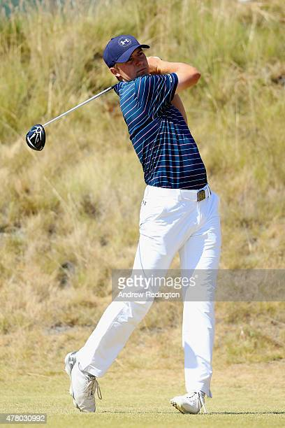 Jordan Spieth of the United States watches his tee shot on the sixth hole during the final round of the 115th US Open Championship at Chambers Bay on...