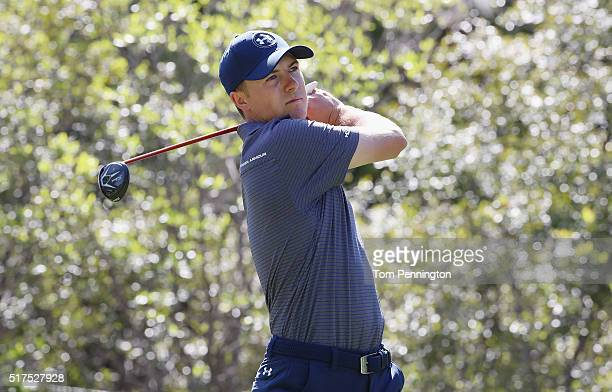 Jordan Spieth of the United States watches his tee shot on the sixth hole during the third round of the World Golf ChampionshipsDell Match Play at...
