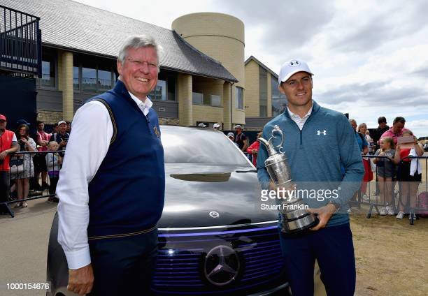 Jordan Spieth of the United States, winner of the 146th Open Championship, returns the Claret Jug to R&A Chief Executive, Martin Slumbers on the...