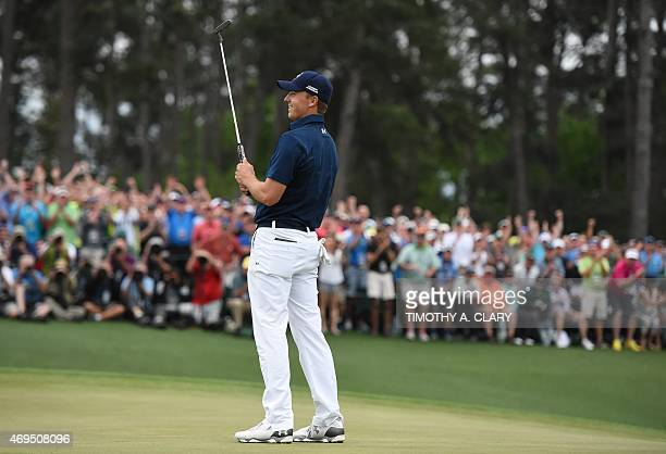 Jordan Spieth of the US celebrates winning the 79th Masters Golf Tournament at Augusta National Golf Club on April 12 in Augusta Georgia AFP...