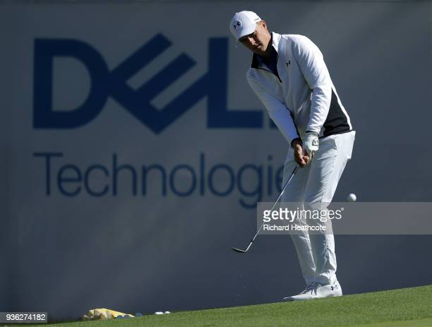 Jordan Spieth of the USA on the driving range prior to a practise round for the WGC Dell Technologies Matchplay at Austin Country Club on March 20...