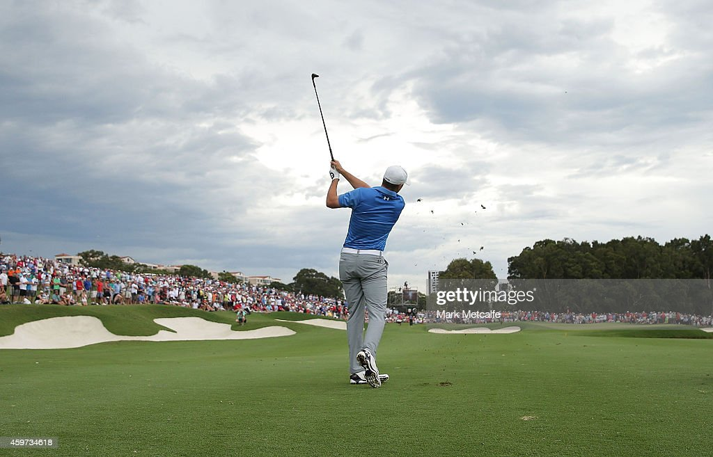 Jordan Spieth of the USA plays his approach shot on the 18th hole during day four of the 2014 Australian Open at The Australian Golf Course on November 30, 2014 in Sydney, Australia.