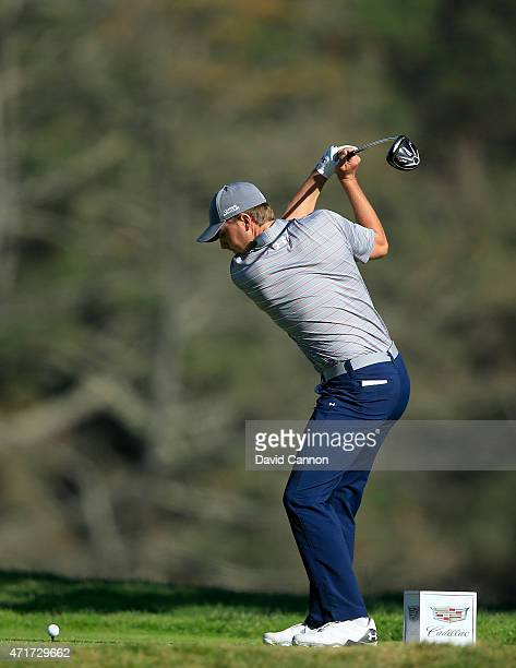 Jordan Spieth of the USA plays his tee shot at the par 4 12th hole during round two of the World Golf Championship Cadillac Match Play at TPC Harding...