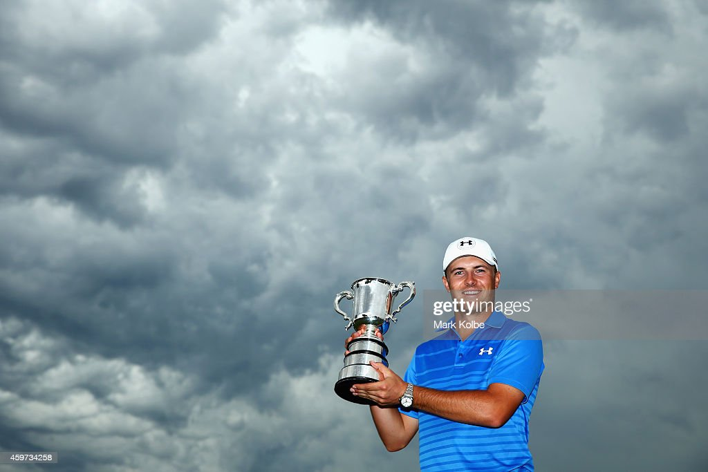 Jordan Spieth of the USA poses with the Stonehaven trophy after winning the 2014 Australian Open during day four of the 2014 Australian Open at The Australian Golf Course on November 30, 2014 in Sydney, Australia.