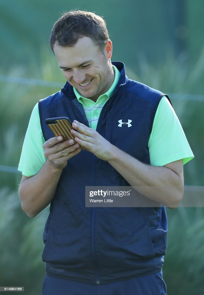 Jordan Spieth of the USA practices ahead of the AT&T Pebble Beach Pro-Am on February 6, 2018 in Pebble Beach, California.