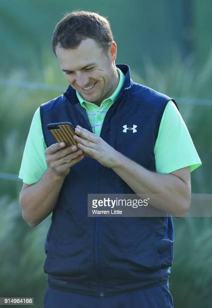 Jordan Spieth of the USA practices ahead of the ATT Pebble Beach ProAm on February 6 2018 in Pebble Beach California