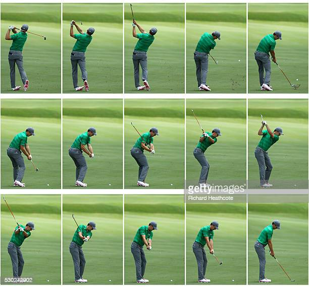 Jordan Spieth of the USA Swing Sequence during a practise round for THE PLAYERS Championship on The Stadium Course at TPC Sawgrass on May 10 2016 in...