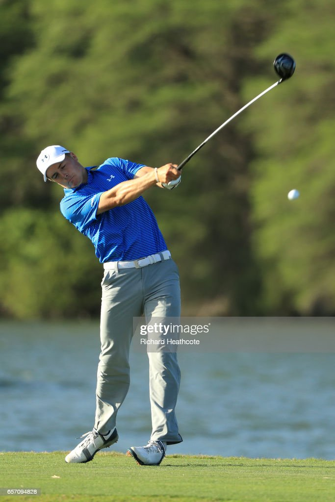 Jordan Spieth of the USA tees off on the 14th hole of his match during round two of the World Golf Championships-Dell Technologies Match Play at the Austin Country Club on March 23, 2017 in Austin, Texas.