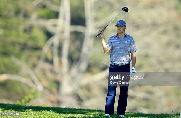 Jordan Spieth of the USA waits to play his tee shot at the par 4 12th hole during round two of the World Golf Championship Cadillac Match Play at TPC...