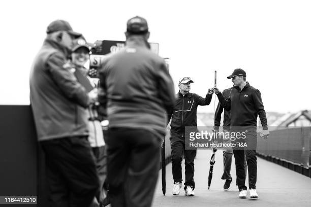 Jordan Spieth of the USA walks to the first tee during the final round of the 148th Open Championship held on the Dunluce Links at Royal Portrush...