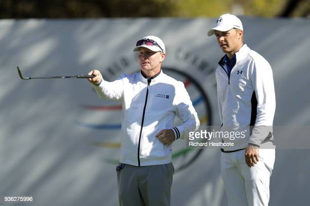 Jordan Spieth of the USA with his coach Cameron McCormick on the driving range prior to a practise round for the WGC Dell Technologies Matchplay at...