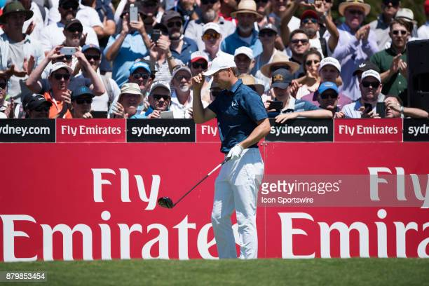 Jordan Spieth on the first tee at the final round of the 102nd Australian Open Golf Championship at The Australian Golf Club in Sydney on November 26...