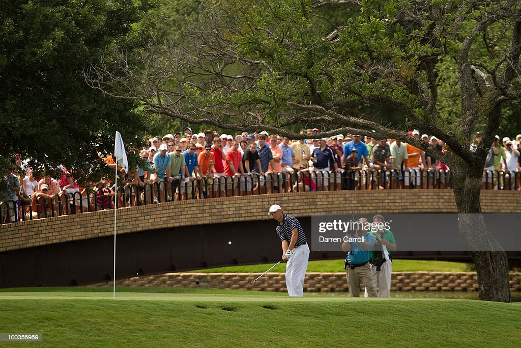 Jordan Spieth plays a chip shot during the fourth round of the HP Byron Nelson Championship at TPC Four Seasons Resort Las Colinas on May 23, 2010 in Irving, Texas.