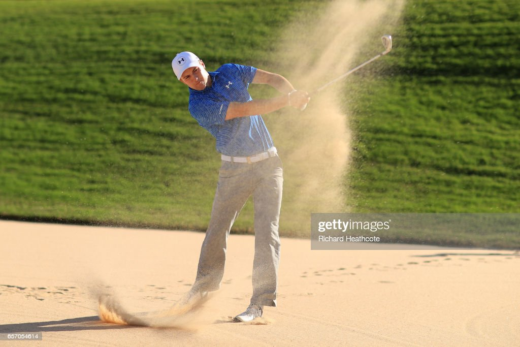 Jordan Spieth plays a shot from the bunker of the 12th hole of his match during round two of the World Golf Championships-Dell Technologies Match Play at the Austin Country Club on March 23, 2017 in Austin, Texas.