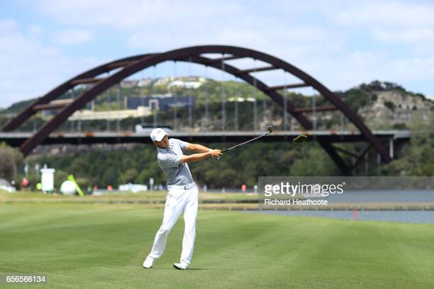 Jordan Spieth plays a shot on 13th hole of his match during round one of the World Golf ChampionshipsDell Technologies Match Play at the Austin...