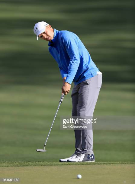 Jordan Spieth plays a shot on the 12th hole during the first round of the Valspar Championship at Innisbrook Resort Copperhead course on March 8 2018...