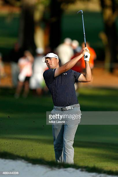 Jordan Spieth plays a shot on the first playoff hole during the final round of the Valspar Championship at Innisbrook Resort Copperhead Course on...