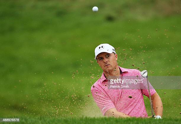 Jordan Spieth plays a shot on the seventh hole during the Second Round of the BMW Championship at Conway Farms Golf Club on September 18 2015 in Lake...
