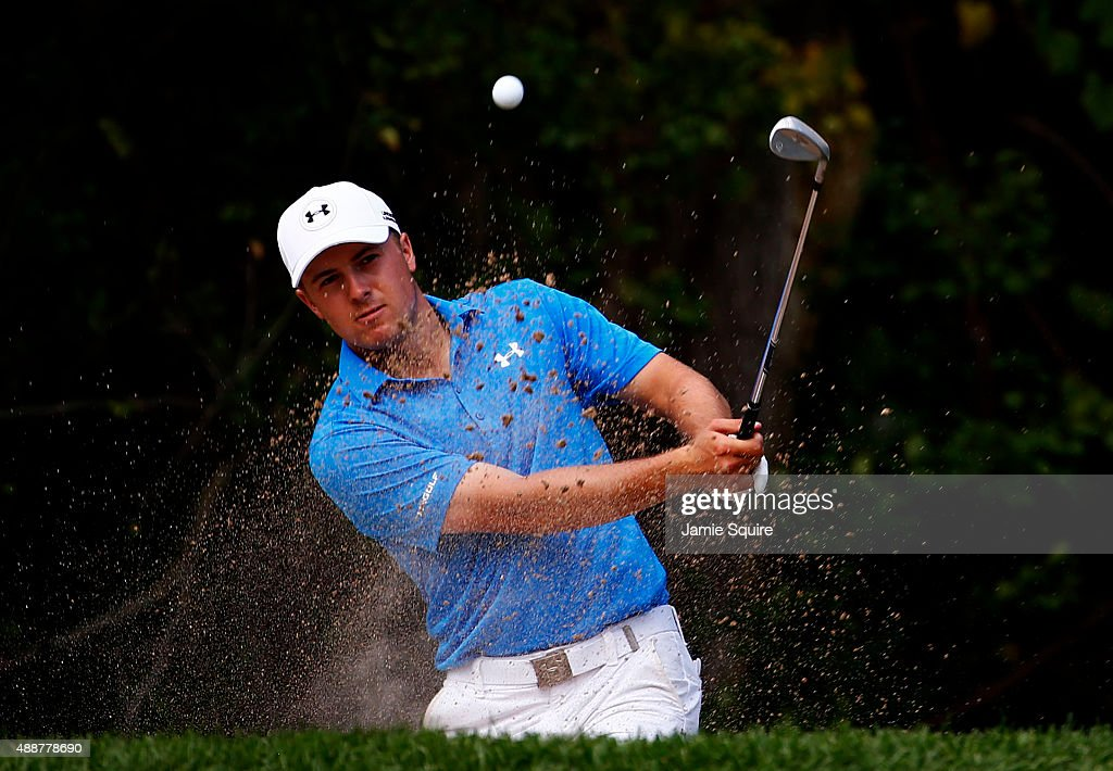 Jordan Spieth plays a shot on the sixth hole during the First Round of the BMW Championship at Conway Farms Golf Club on September 17, 2015 in Lake Forest, Illinois.