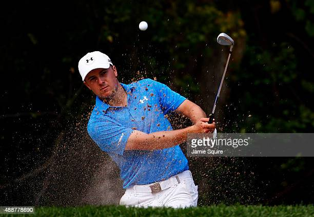 Jordan Spieth plays a shot on the sixth hole during the First Round of the BMW Championship at Conway Farms Golf Club on September 17 2015 in Lake...