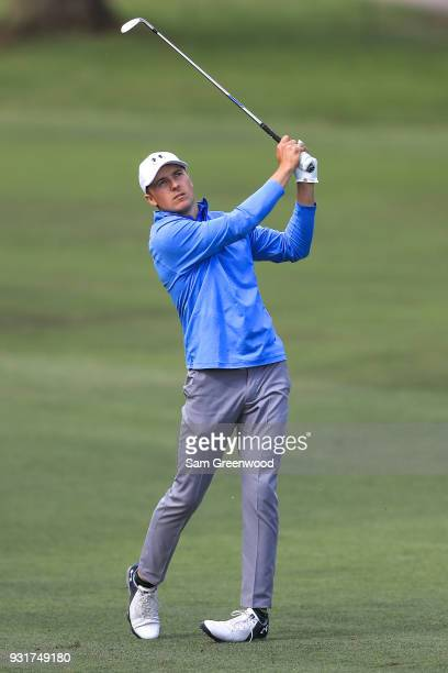 Jordan Spieth plays his second shot on the 11th hole during the first round of the Valspar Championship at Innisbrook Resort Copperhead Course on...