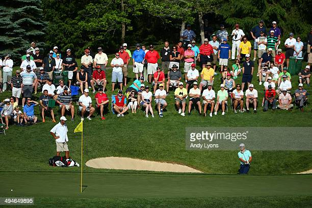 Jordan Spieth plays his second shot on the 12th hole during the second round of the Memorial Tournament presented by Nationwide Insurance at...
