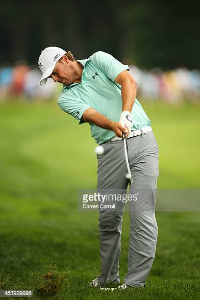 Jordan Spieth plays his second shot on the fourth hole during the second round of The Barclays at The Ridgewood Country Club on August 22, 2014 in...
