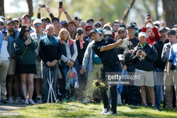 Jordan Spieth plays his second shot on the sixth hole during the second round of the Valspar Championship at Innisbrook Resort Copperhead Course on...