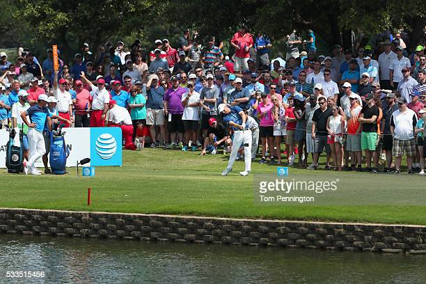 Jordan Spieth plays his shot from the 11th tee during the Final Round at ATT Byron Nelson on May 22 2016 in Irving Texas
