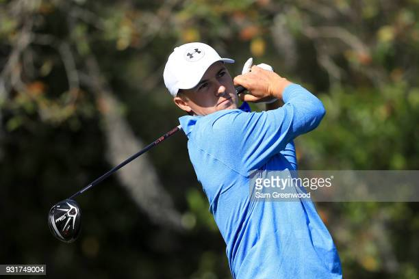 Jordan Spieth plays his shot from the 11th tee during the first round of the Valspar Championship at Innisbrook Resort Copperhead Course on March 8...