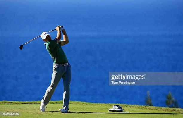 Jordan Spieth plays his shot from the 13th tee during round one of the Hyundai Tournament of Champions at the Plantation Course at Kapalua Golf Club...