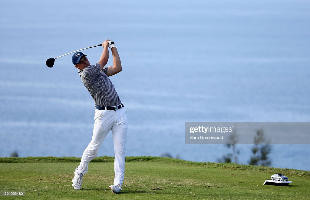 Jordan Spieth plays his shot from the 13th tee during round two of the Hyundai Tournament of Champions at the Plantation Course at Kapalua Golf Club on January 8, 2016 in Lahaina, Hawaii.