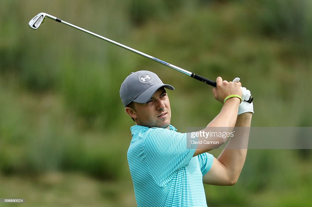 Jordan Spieth plays his shot from the 14th fairway during the second round of the Deutsche Bank Championship at TPC Boston on September 3, 2016 in Norton, Massachusetts.