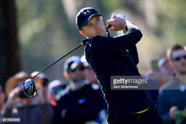 Jordan Spieth plays his shot from the 14th tee during the second round of the Valspar Championship at Innisbrook Resort Copperhead Course on March 9...
