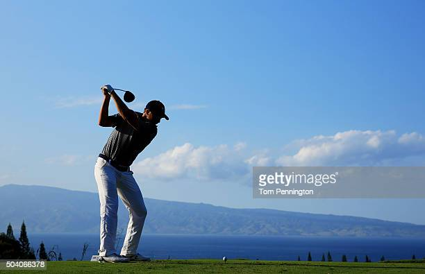 Jordan Spieth plays his shot from the 18th tee during round two of the Hyundai Tournament of Champions at the Plantation Course at Kapalua Golf Club...