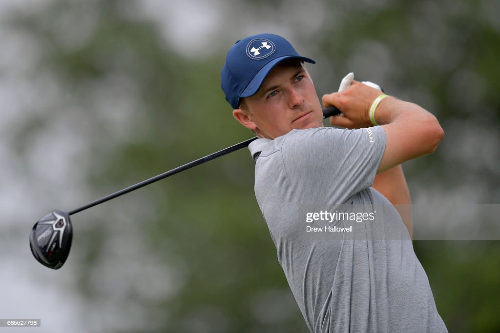 Jordan Spieth plays his shot from the 18th tee during Round Two of the AT&T Byron Nelson at the TPC Four Seasons Resort Las Colinas on May 19, 2017 in Irving, Texas.