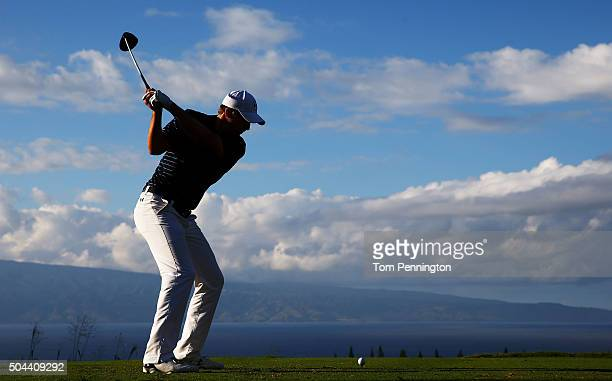 Jordan Spieth plays his shot from the 18th tee during the final round of the Hyundai Tournament of Champions at the Plantation Course at Kapalua Golf...