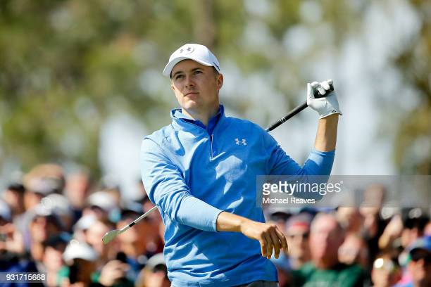 Jordan Spieth plays his shot from the eighth tee during the first round of the Valspar Championship at Innisbrook Resort Copperhead Course on March 8...