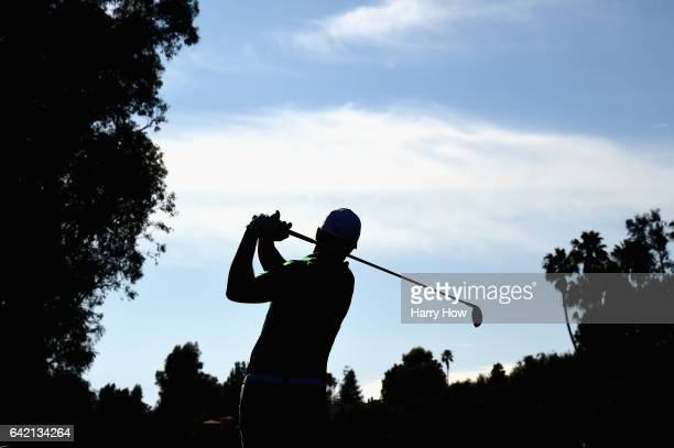 Jordan Spieth plays his shot from the fifth tee during the first round at the Genesis Open at Riviera Country Club on February 16, 2017 in Pacific...