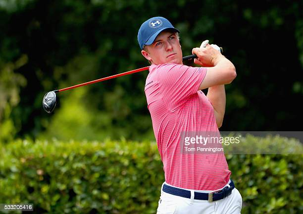 Jordan Spieth plays his shot from the first tee during Round Three at the AT&T Byron Nelson on May 21, 2016 in Irving, Texas.