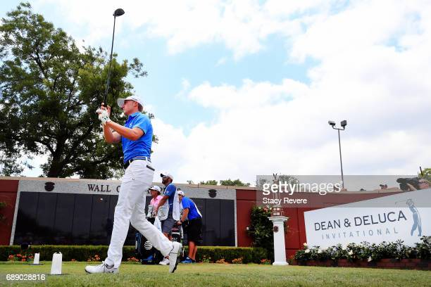 Jordan Spieth plays his shot from the first tee during Round Two of the DEAN & DELUCA Invitational at Colonial Country Club on May 27, 2017 in Fort...