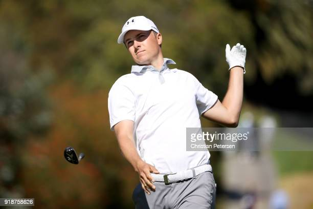 Jordan Spieth plays his shot from the fourth tee during the first round of the Genesis Open at Riviera Country Club on February 15 2018 in Pacific...