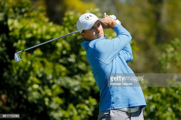 Jordan Spieth plays his shot from the fourth tee during the first round of the Valspar Championship at Innisbrook Resort Copperhead Course on March 8...