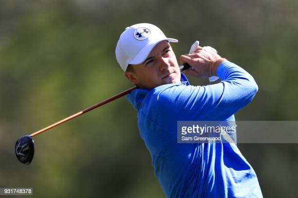 Jordan Spieth plays his shot from the ninth tee during the first round of the Valspar Championship at Innisbrook Resort Copperhead Course on March 8...