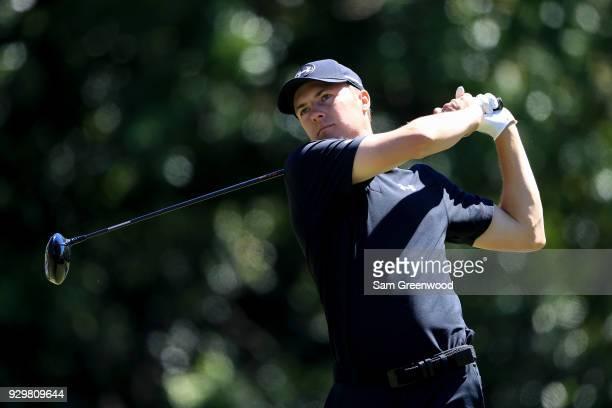 Jordan Spieth plays his shot from the ninth tee during the second round of the Valspar Championship at Innisbrook Resort Copperhead Course on March 9...