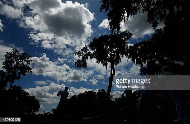 Jordan Spieth plays his shot from the sixth tee during round two of THE PLAYERS Championship at the TPC Sawgrass Stadium course on May 8 2015 in...