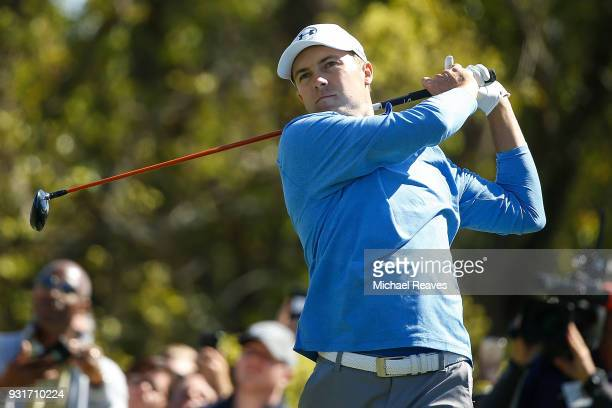 Jordan Spieth plays his shot from the sixth tee during the first round of the Valspar Championship at Innisbrook Resort Copperhead Course on March 8...