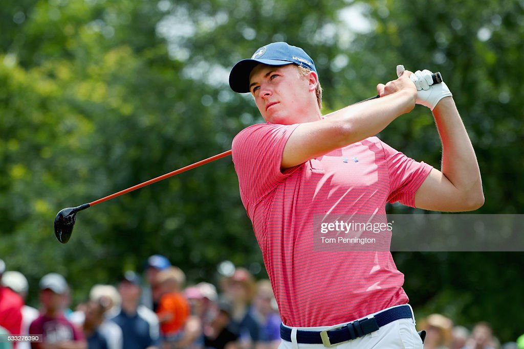 Jordan Spieth plays his shot from the third tee during Round Three at the AT&T Byron Nelson on May 21, 2016 in Irving, Texas.