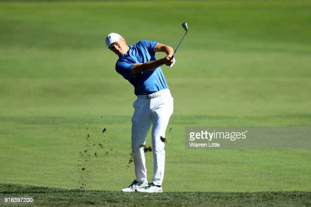 Jordan Spieth plays his shot on the first hole during Round Two of the ATT Pebble Beach ProAm at Monterey Peninsula Country Club on February 9 2018...